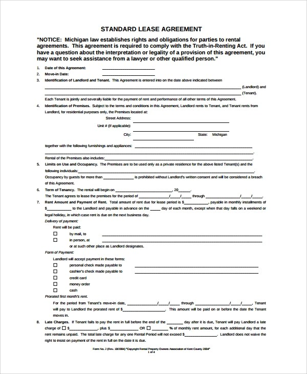 Sample Blank Lease Agreement - 7+ Documents in PDF, Word