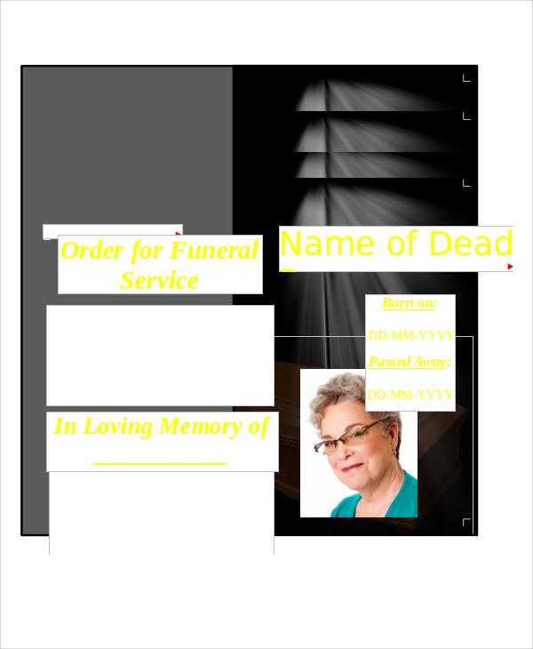 Funeral Program Format Funeral Memorial Programs Templates 11+ Funeral  Program Format