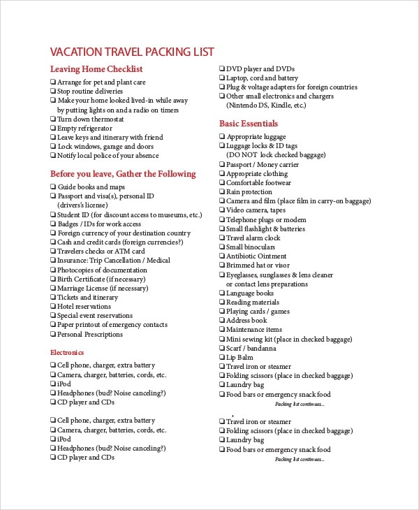 8+ Sample Packing List Templates Sample Templates - packing list sample