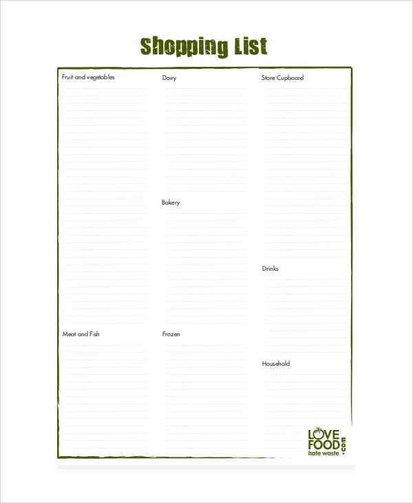 8+ Sample Shopping List Templates \u2013 PDF, Word Sample Templates - blank grocery list templates
