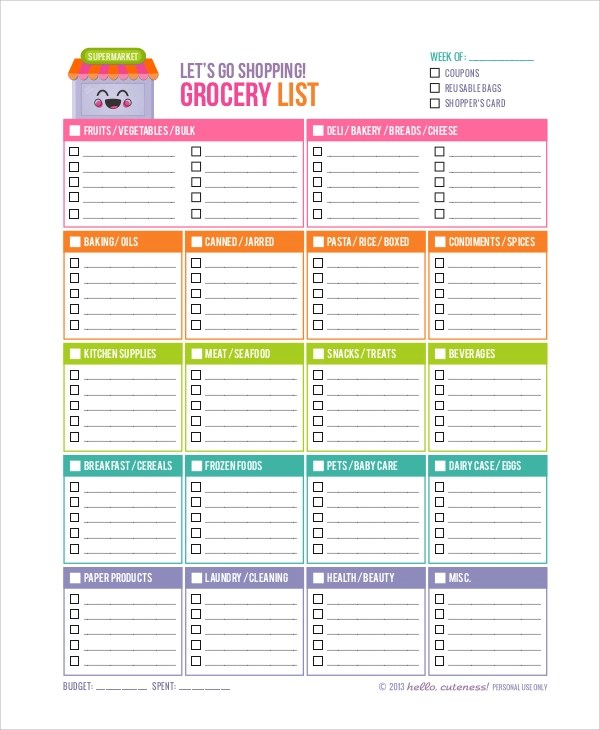 10+ Printable Shopping Lists Sample Templates