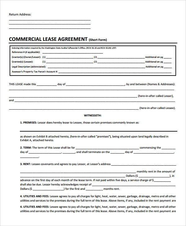 Commercial Lease Form 10 Best Rental Agreements Images On - commercial truck lease agreement