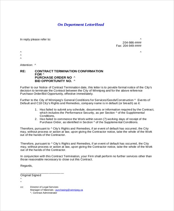 8+ Sample Termination Letters Sample Templates - Example Of A Termination Letter
