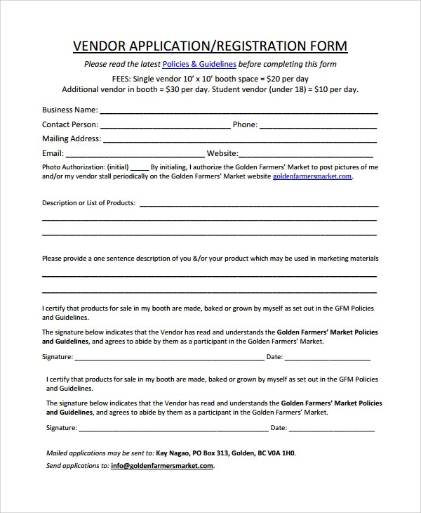 9+ Sample Vendor Registration Forms Sample Templates - vendor application form