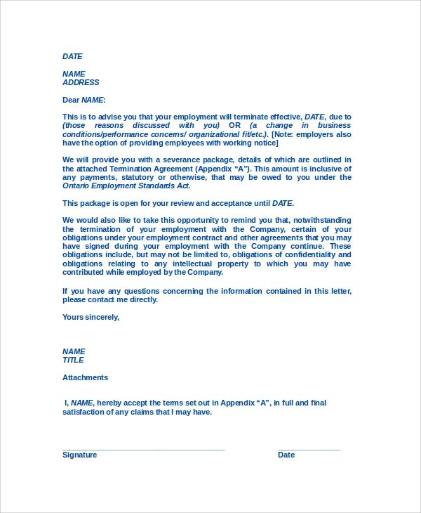 letter of termination to employee