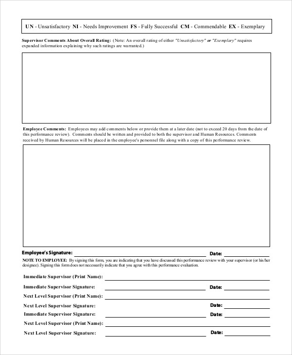 sample employee evaluation form hitecauto - employee review form