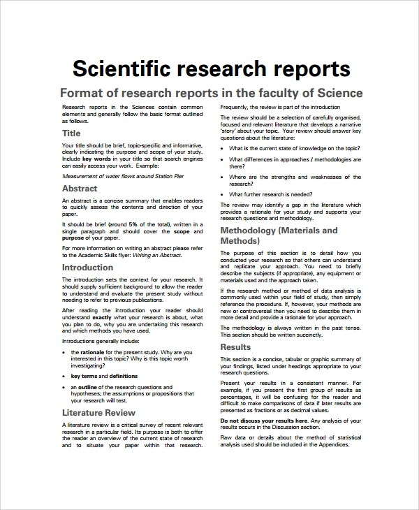 7+ Sample Scientific Report Templates Sample Templates - scientific templates