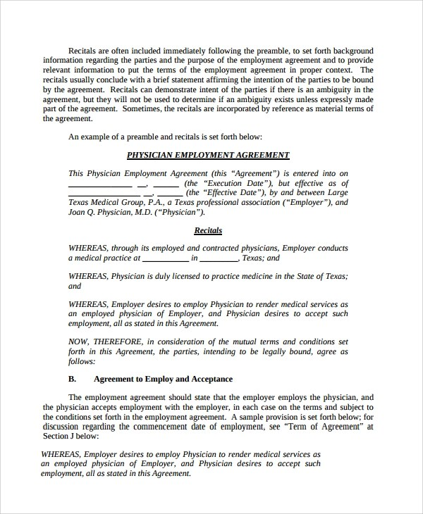 8+ Sample Physician Employment Agreements Sample Templates