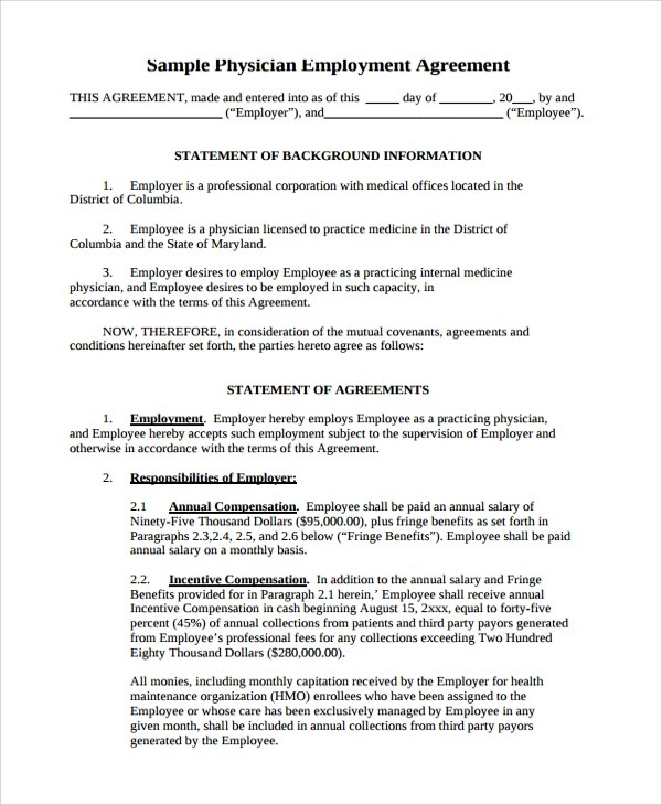8+ Sample Physician Employment Agreements Sample Templates - physician employment agreement