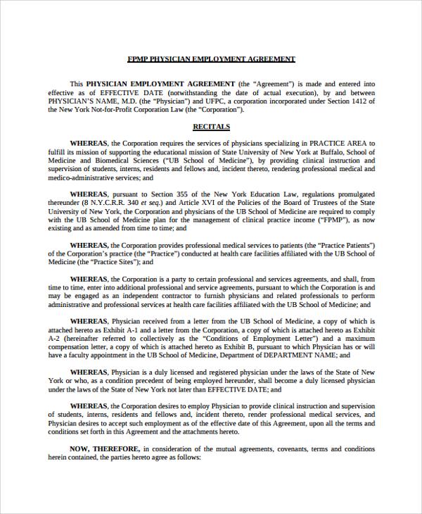 8+ Sample Physician Employment Agreements Sample Templates - standard employment agreement