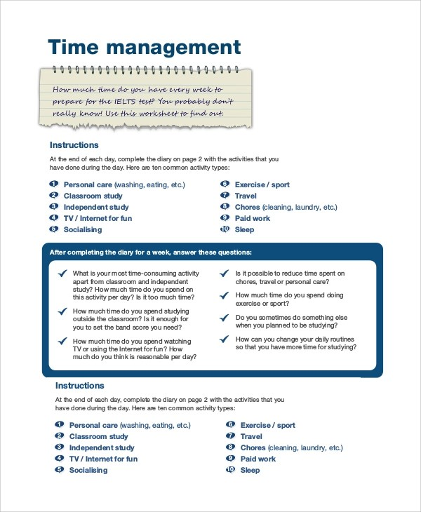 Sample Time Management - 7+ Documents in Word, PDF