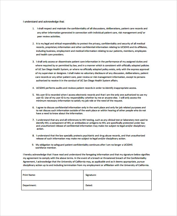 10+ Sample Employment Confidentiality Agreements Sample Templates