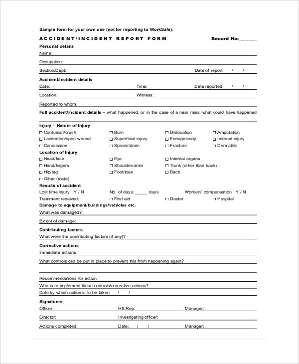 8+ Sample Incident Report Forms Sample Templates - Incident Reporting Form