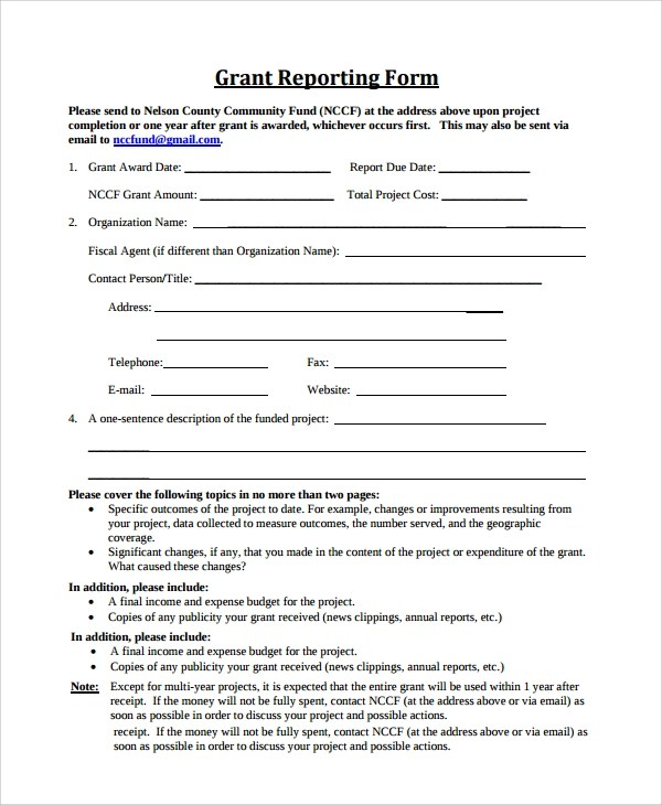 9+ Sample Grant Report Forms Sample Templates