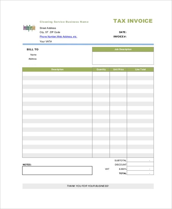 8+ Sample Blank Invoice Templates Sample Templates