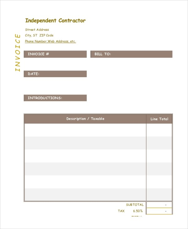 contractor invoice samples - Militarybralicious - independent contractor invoice