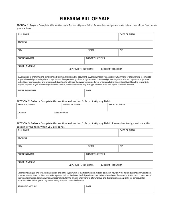 Sample Firearm Bill of Sale - 6+ Documents in PDF - gun bill of sale