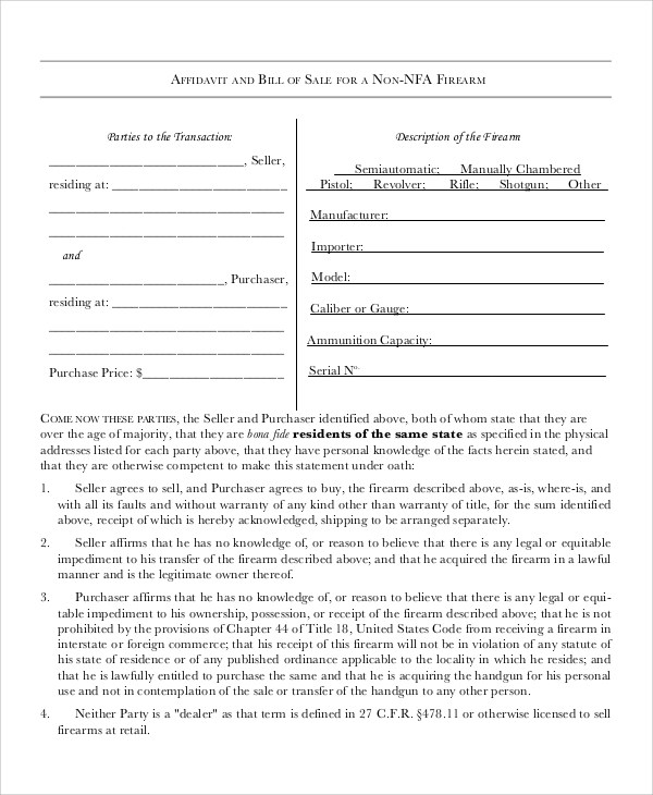 Doc#600791 Gun Bill of Sale u2013 Bill Of Sale Form (+78 Similar - gun bill of sale