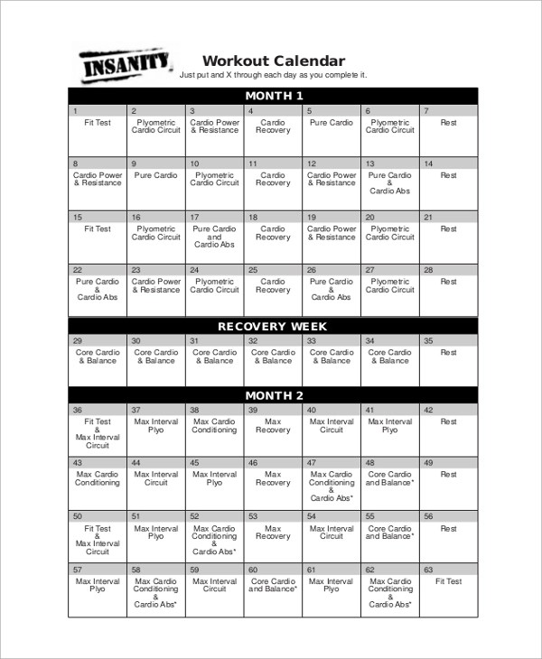 Sample Workout Calendar - 9+ Documents in PDF, Word, Excel - workout calendar template