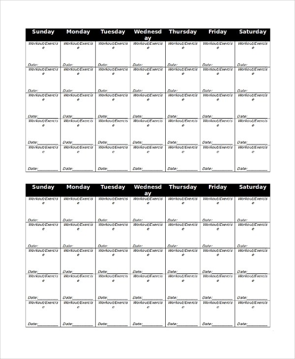 Sample Workout Calendar kicksneakers