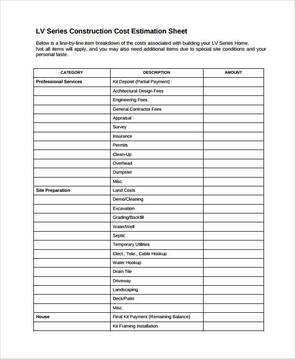 10+ Sample Estimate Sheets Sample Templates - estimate sheet