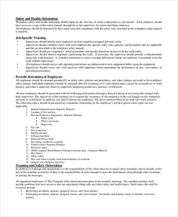 Health And Safety Manual Template - sample safety manual template