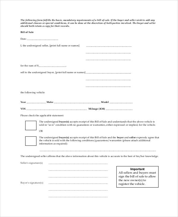 generic printable bill of sale