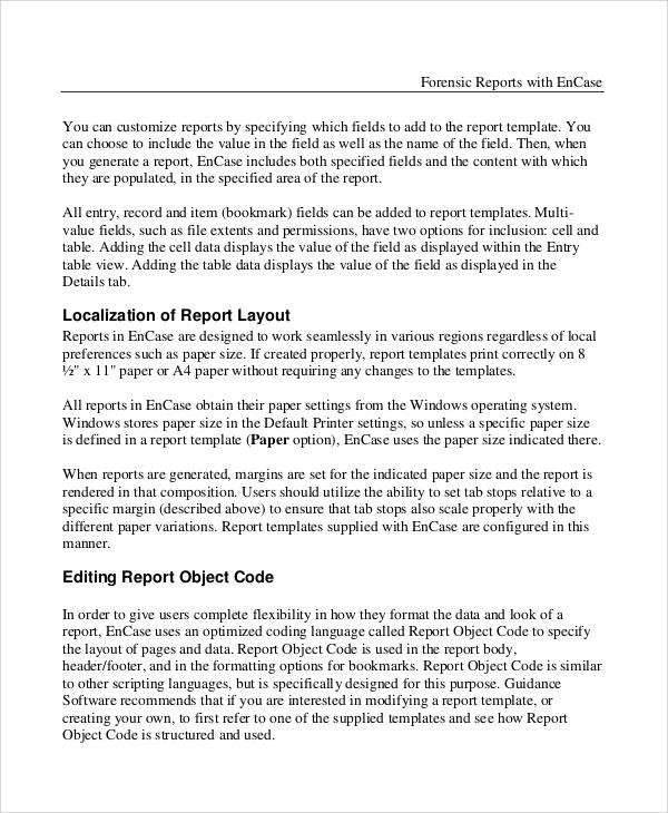 7+ Sample Forensic Report Templates \u2013 DOC, PDF Sample Templates - basic report template