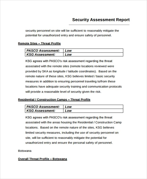 7+ Sample Risk Assessment Report Templates Sample Templates