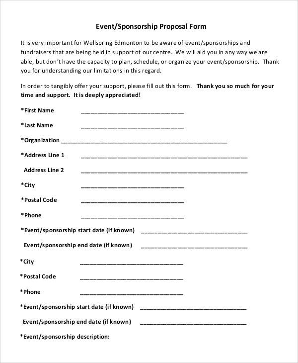 Event Proposal Template Word 10 event proposal templates samples – Sample Fundraising Proposal Template