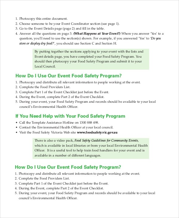 Sample Safety Program Golf Manual Table Of Contents Workplace - event program