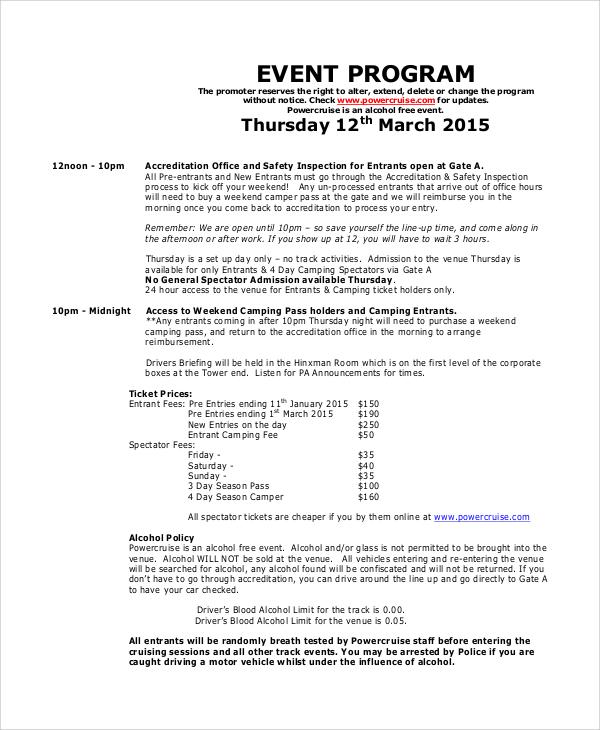Sample Event Program - 6+ Documents in PDF