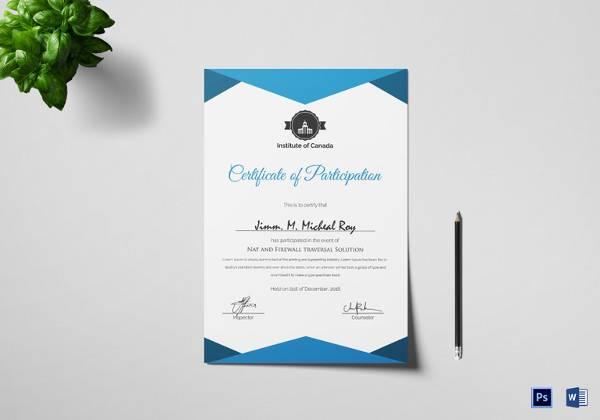 30+ PSD Certificate Templates Sample Templates - certificate of participation format
