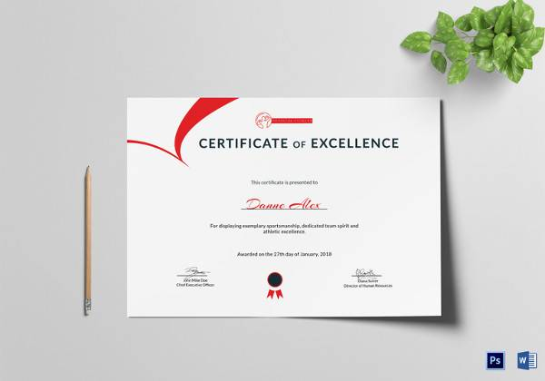 certificate of excellence template free
