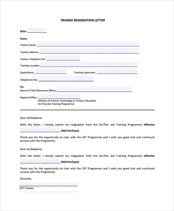 19+ Sample Resignation Letters Sample Templates