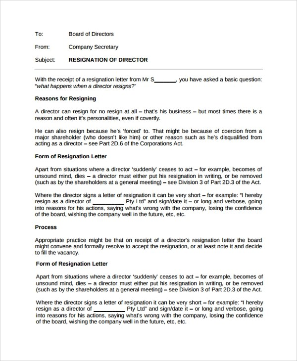 Sample Resignation Letter - 18+ Documents in PDF, Word - quick tips writing resignation letters