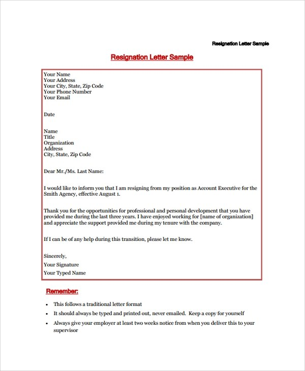 Sample Resignation Letter - 18+ Documents in PDF, Word - examples of resignation letters