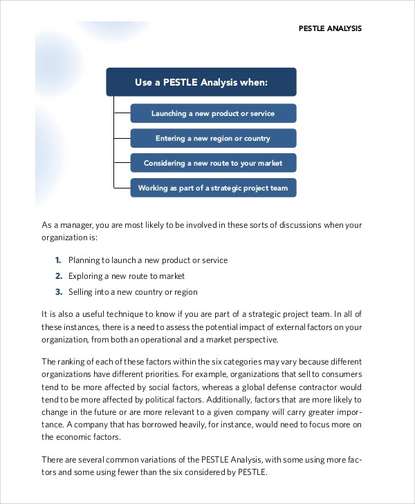 8+ PEST Analysis Samples \u2013 PDF, DOC Sample Templates