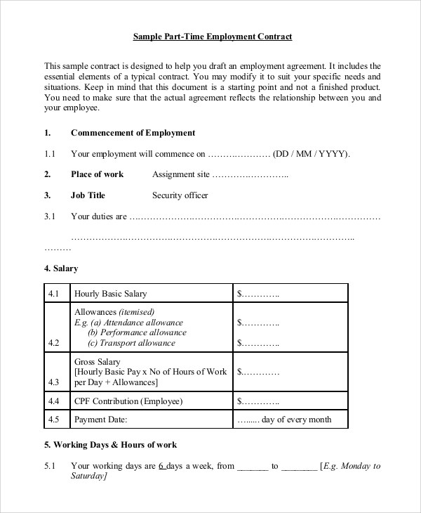8+ Sample Employment Contracts Sample Templates