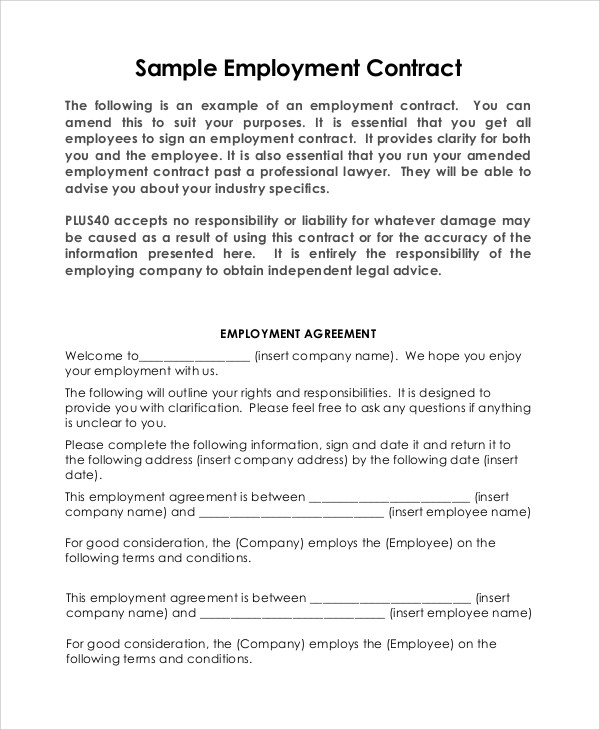 8+ Sample Employment Contracts Sample Templates - professional athlete contract template