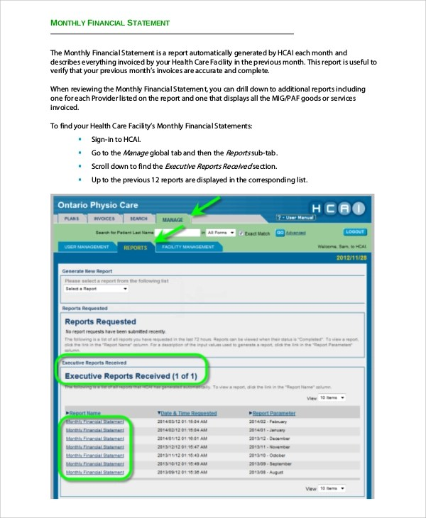 Sample Financial Statement - 7+ Documents in PDF - monthly financial report sample