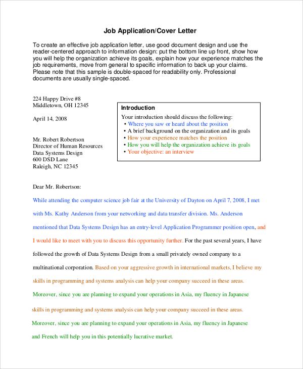 resume and application letter sample pdf