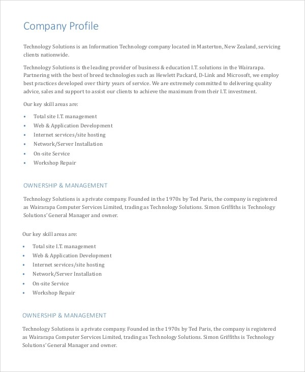 Company Profile Sample Construction Companies | Free Document Resume