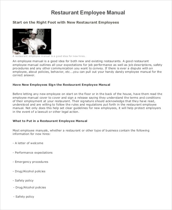 Employee Manual Sample - 7+ Documents in Word, PDF - sample employee manual template