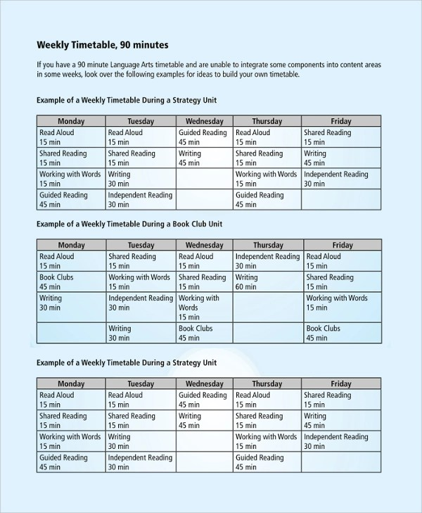 8+ Sample Weekly Timetables Sample Templates