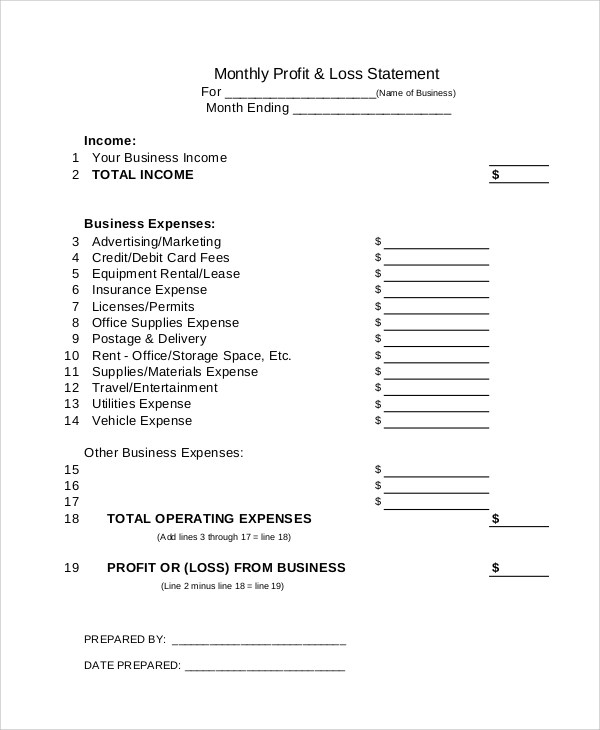 12+ Sample Profit and Loss Statements Sample Templates