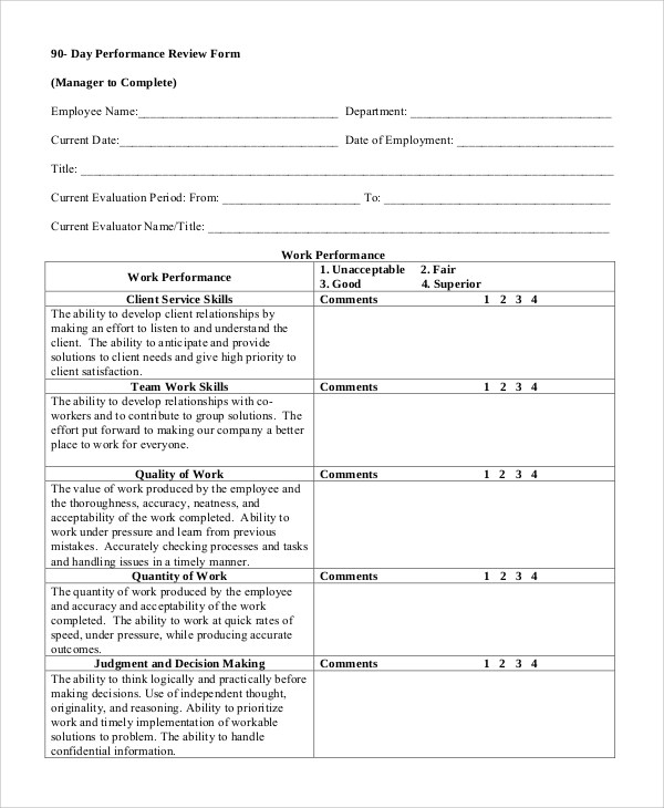 Sample Performance Review - 7+ Documents in Word, PDF - employee review form