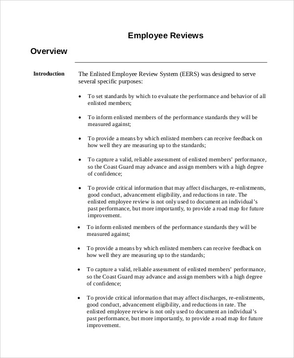 8+ Sample Employee Reviews Sample Templates