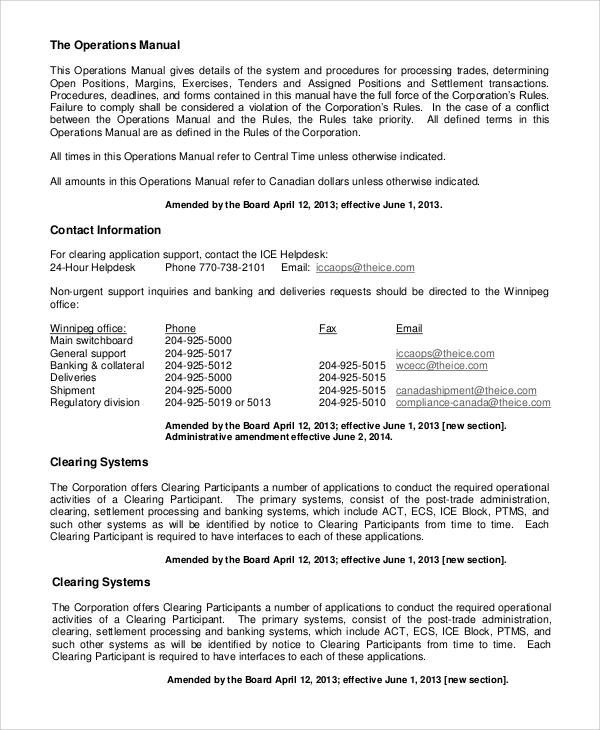 8+ Sample Operation Manuals Sample Templates