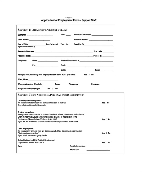Sample Employment Application Form - 10+ Documents in PDF - generic employment application